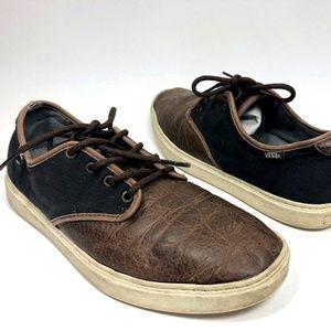 Vans Mens Sneakers Size 10 Brown Leather Low Tops